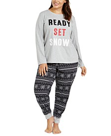 Matching Plus Size Ready Set Snow Pajama Set, Created For Macy's