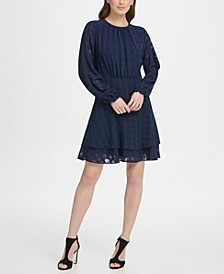Long Sleeve Double Layer Skirt Check Georgette Dress