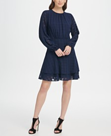 DKNY Long Sleeve Double Layer Skirt Check Georgette Dress