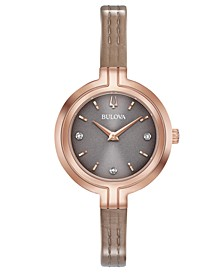 Women's Rhapsody Diamond-Accent Taupe Leather Strap Watch 30mm
