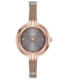 Bulova Women's Rhapsody Diamond-Accent Taupe Leather Strap Watch 30mm