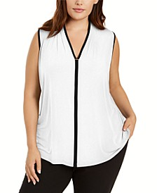Plus Size Sleeveless Contrast-Trim Top