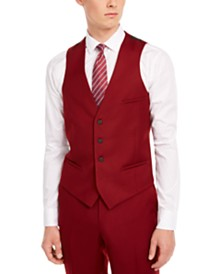 Bar III Men's Slim-Fit Red Flannel Suit Separate Vest, Created for Macy's