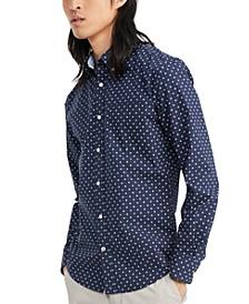 Men's Custom-Fit Stretch Aaron Print Shirt, Created for Macy's