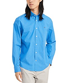 Men's Custom-Fit Stretch Sweeney Dot Print Shirt, Created for Macy's