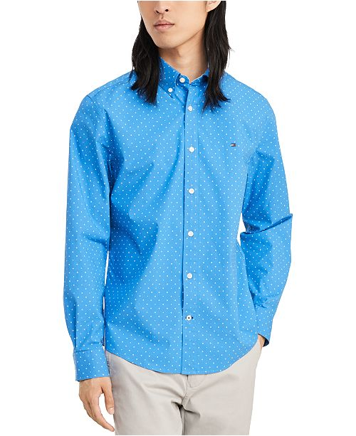 Tommy Hilfiger Men's Custom-Fit Stretch Sweeney Dot Print Shirt, Created for Macy's
