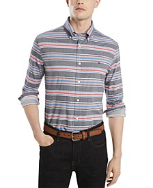 Men's Custom-Fit Stretch Marky Twill Stripe Shirt, Created for Macy's
