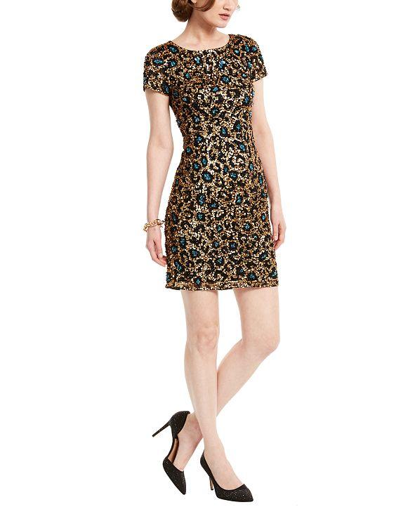 Adrianna Papell Sequin Leopard-Print Dress