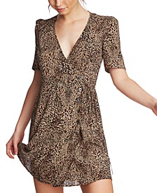 Leopard Printed Wrap-Front Dress