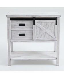 Luxen Home Wood Sliding Door Console Table
