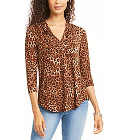 Animal Print Pleated V Neck Top, Created for Macy's