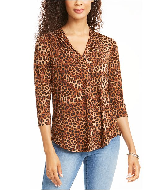 Charter Club Animal Print Pleated V Neck Top, Created for Macy's