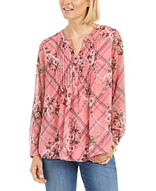 Petite Mixed-Print Split-Neck Top, Created for Macy's