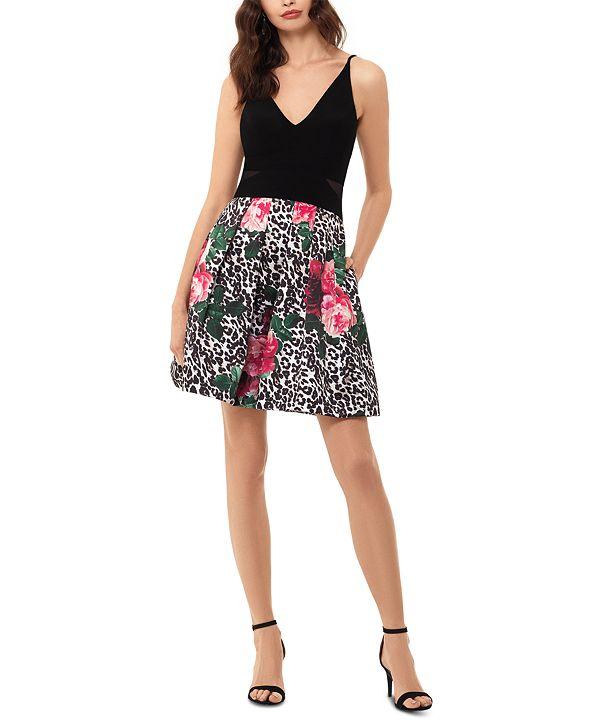 XSCAPE Mixed-Print Fit & Flare Dress