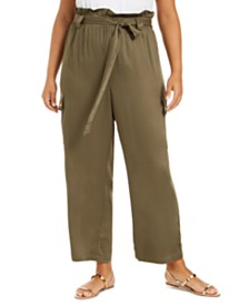 Planet Gold Trendy Plus Size Paperbag Cargo Pants