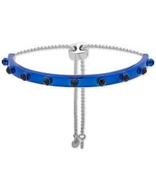 DKNY Two-Tone Crystal-Studded Curved Bar Slider Bracelet