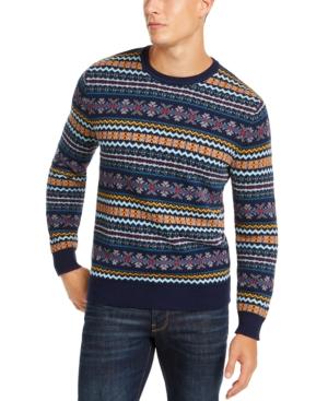 1920s Mens Sweaters, Pullovers, Cardigans Club Room Mens Fairisle Crewneck Sweater Created for Macys $34.99 AT vintagedancer.com