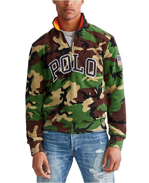 Polo Ralph Lauren Men's Big & Tall Camo Knit Polar Fleece Quarter-Zip Sweatshirt