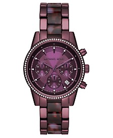 Michael Kors Women's Chronograph Ritz Purple & Lavender Stainless Steel Bracelet Watch 37mm