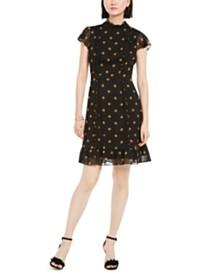 Adrianna Papell Daisy-Print Chiffon Dress