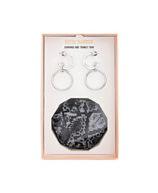 "Steve Madden Medium Silver-Tone Hoop Earring 1-1/4"" and Hexagon Trinket Tray Gift Set"