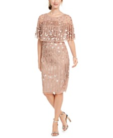 Adrianna Papell Beaded Cape Dress