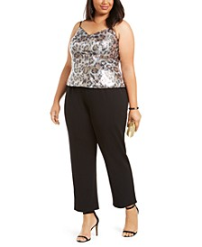 Plus Size Leopard Sequin Jumpsuit