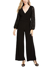 Sequin-Sleeve Jumpsuit