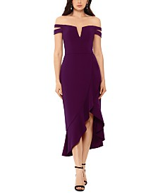 XSCAPE Off-The-Shoulder High Low Dress