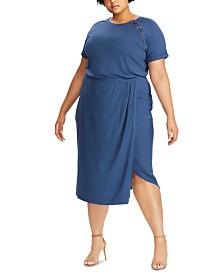 Lauren Ralph Lauren Plus Size Lace-Up Jersey Dress