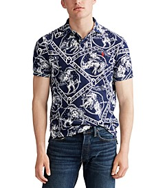 Men's Classic Fit Western-Print Mesh Polo Shirt