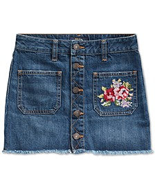 Big Girls Denim Button Skirt