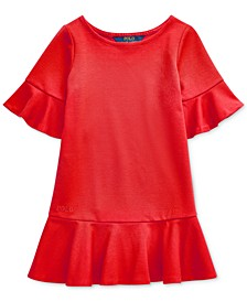Little Girls Ponte Roma Bell-Sleeve Dress