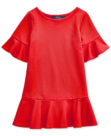Polo Ralph Lauren Little Girls Ponte Roma Bell-Sleeve Dress