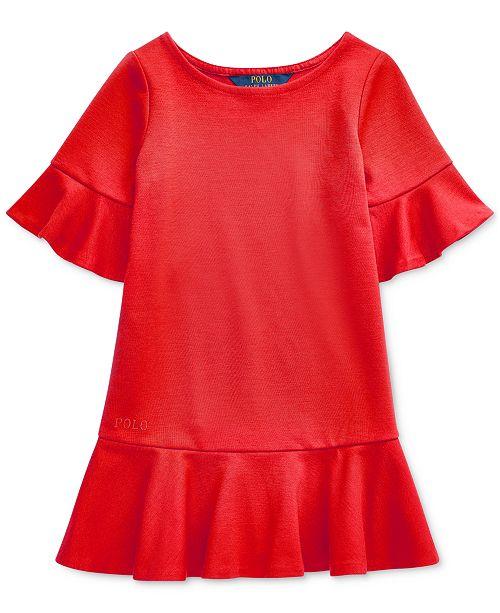 Polo Ralph Lauren Little Girls Ponte Roma Bell-Sleeve Dress