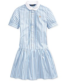 Big Girls Cotton Shirting-Strip Dress