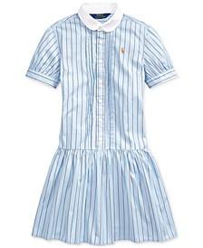 Big Girls Cotton Shirting-Strip Dress