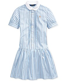 Polo Ralph Lauren Big Girls Cotton Shirting-Strip Dress