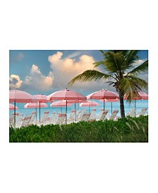"Christopher Knight Collection - Pink Umbrella Beach Canvas Art, 27"" x 36"""