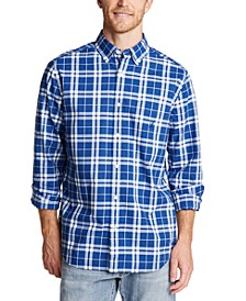 Men's Blue Sail Classic-Fit Stretch Plaid Poplin Shirt, Created for Macy's