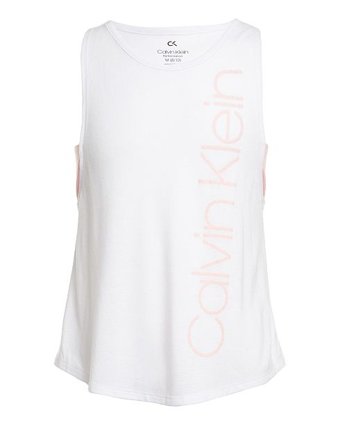 Calvin Klein Big Girls Layered-Look Logo-Print Tank Top