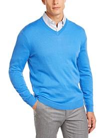 Men's Solid V-Neck Merino Wool Blend Sweater, Created for Macy's