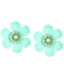 Gold-Tone & Suede-Painted-Finish Lily Statement Earrings