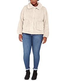 Juniors' Plus Size Faux-Fur-Jacket