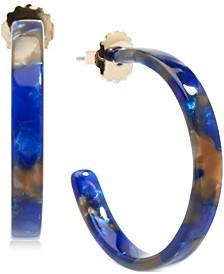 """Medium Gold-Tone & Acetate Thin Open Hoop Earrings 1-1/4"""""""