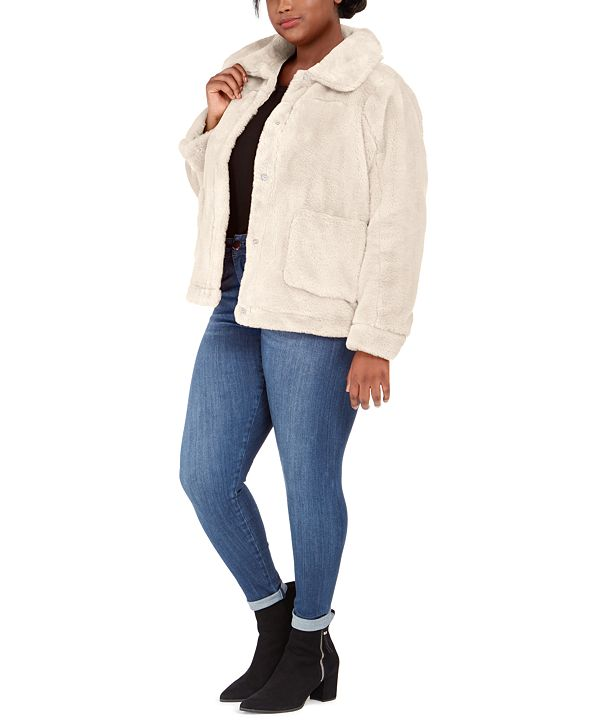 Jou Jou Juniors' Plus Size Faux-Fur-Jacket