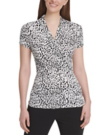 DKNY Leopard-Print Side-Ruched Top