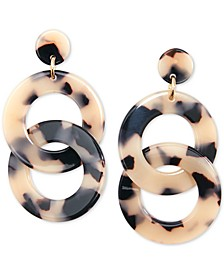 Gold-Tone & Acetate Linked Circle Drop Earrings