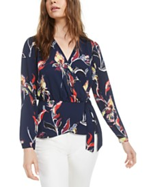 Bar III Floral-Print Faux-Wrap Top, Created for Macy's
