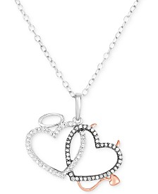 "Diamond Angel & Devil Double Heart 18"" Pendant Necklace (1/6 ct. t.w.) in Sterling Silver & 14k Rose Gold-Plate"